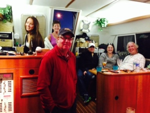 After visiting the Pearl, we congregated later in the afternoon for Happy Hour aboard the Joint Adventure - Paul's brother Steve and his lovely bride Sue came down from Tampa to be with us as well.  Left to right: Carly, Gayleen, Steve Coates, Bob, Audrey, Bruce