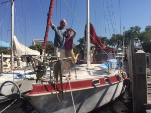 "Bruce & Gayleen aboard their home and their mode of transportation, the SV Pearl - she's a 41' Morgan with a 14' beam - very seaworthy. Gayleen had little sailing experience before they moved aboard, but her adventurous spirit and quick-learner ability has turned her into an ""old salt"", although she's actually quite young, like the rest of us..."