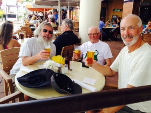 Celebrating our arrival in Miami at a waterfront pub