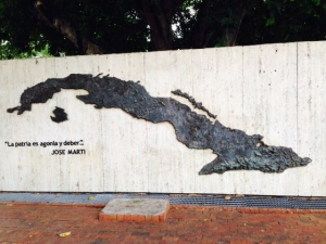 An enormous map of Cuba dominates a small park in Little Havana