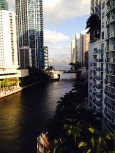 The Miami River, navigable for about 7 miles or so, cuts through the heart of the city with highrises on both sides and bridges every couple of blocks. While it serves recreational traffic, the river is a major commercial waterway as well - fishing boats utilize the river to offload their catch, freighters offload goods, and several commercial boatyards line the river.