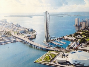 This is a picture of a rendering of the future - Miami is intending to build a 1000 foot iconic tower to create an iconic image for the city - similar to the Needle in Seattle or the Arch in St. Louis. The marina in the foreground, which will remain, is where we docked for two of our nights in Miami. Construction is scheduled to start this Spring.