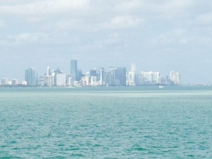 The City of Miami skyline, approaching from the south in Biscayne Bay -