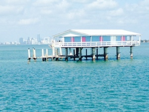 One of the stilt houses - notice the Miami skyline in the background -