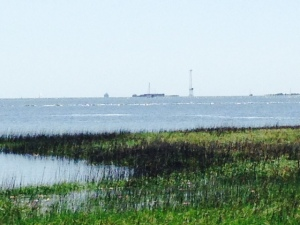 Fort Sumter as seen from the mainland waterfront in downtown Charleston.