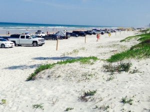 The world-famous Daytona Beach, where cars are still allowed to drive and park on the beach.