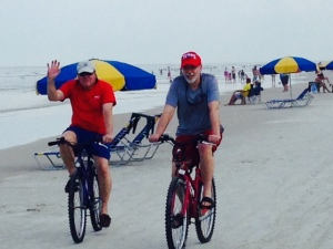 Riding on the sand, enjoying the sights -