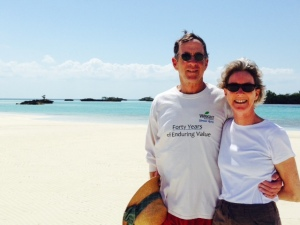 Jim & Chrissie on Sandy Cay -