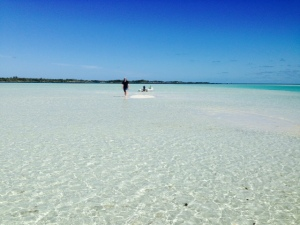 Acres of white sand, a foot under water at high tide