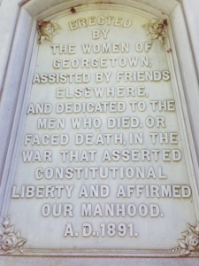 This is the inscription on the Confederate monument shown above. I thought it to be unusual and unlike anything else I had seen in the South.
