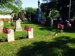 I just commented in my last post that I had seen no Confederate flags in South Carolina - this picture is from the same cemetery as the monument above....