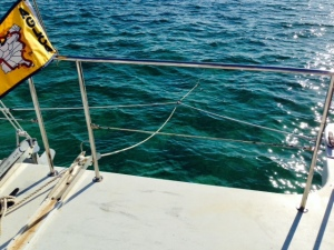 Anchoring a catamaran is a little different from anchoring a monohull. In order to ride properly at anchor, the anchor line is attached to a bridle, which is attached to the bow of each pontoon, as shown in the picture. The anchor line above the bridle is secured with slack so that the bridle takes up the force.