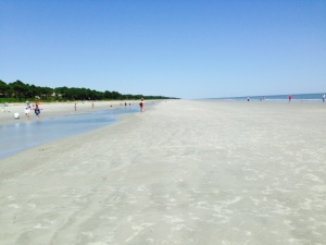 Hilton Head is, of course, also known for its beaches, which are extraordinarily wide at low tide, They are truly beautiful, but the sand is brown and a bit silty - not quite the caliber of the beaches of South Florida (what a snob...).