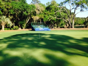 The walking/bike paths often pass by or though the many golf courses on the island. This is a green on the PGA course, each of which has a grandstand for spectators. You can play this course for a mere $150/round and have your friends watch you from the stands....