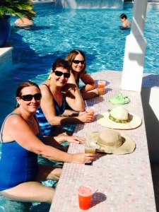 Enjoying a Happy Hour drink at the pool/tiki bar...