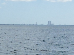 The Vehicle Assembly Building on Cape Canaveral, where rockets and space vehicles are built, as seen from the ICW at Titusville.