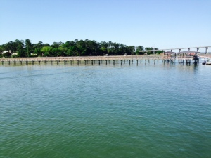 The water is often shallow a long way from shore in the bayous and estuaries of the Low Country, so docks are sometimes quite long to reach water deep enough for a boat.