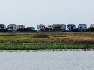 Looking east toward from the ICW, beach houses line the ocean beaches