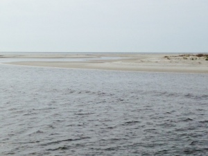 Sandy beaches predominate along the barrier islands on the ocean side of the ICW