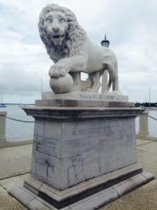 Two famous lions mark the entrance to the iconic Bridge of Lions, which crosses the ICW at St. Augustine. From the look on its face, I think it just ate a tourist....