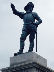 "A statue of Florida ""discoverer"" Ponce de Leon in the main square"