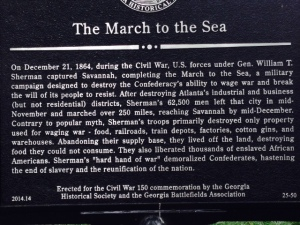 Interestingly, this placard near the Sherman headquarters provides a softer spin on Sherman's march to the sea than is generally taught.