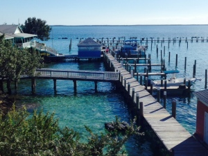 One of three sets of empty docks at Spanish Cay...