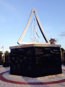 The second treat in Titusville was its ties to the space program and the statues, plaques, and space museum in Titusville. This is a sculpture honoring the space shuttle program, and there are others honoring the Gemini program.  Cape Canaveral is across the Indian River from Titusville, so the town is closely linked with NASA.