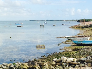 The Wet End Village runs along the water, which is the focus of subsistence fishing by the residents. The primary focus is on the harvesting of conch, which is done by diving in shallow water up to about 12 feet and picking them off the sandy ocean floor. No diving equipment is used - just masks, and they hold their breath to dive.