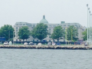 The United States Naval Academy, as seen from the harbor on the way in.