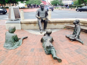 "This statue is located at the waterfront of Annapolis Harbor - the plaque reads: ""To commemorate the arrival in this harbor of Kunta Kinte, immortalized by Alex Haley in ROOTS and all others who came to these shores in bondage and who by their toil, character, and ceaseless struggle for freedom have helped to make these United States."""