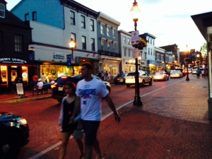Strolling Main Street in the evening