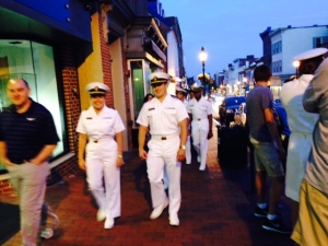 The presence of the Naval Academy pervades Annapolis.  Cadets in the first two years are required to wear their dress uniform whenever they are out and about.