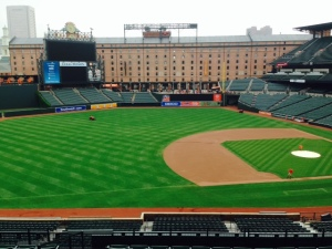 We took a tour of Camden Yards - this is a view from the third base line looking across the field with the warehouse in the background.