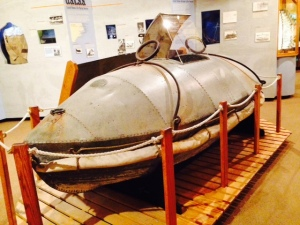 "This ""capsule"" is on display in the interesting Maritime Museum in Beaufort. It was used to rescue stranded passengers and crewmembers from shipwrecks along the Cape Lookout/Cape Hatteras shoals. A cannon would shoot a line from the beach to a wrecked ship, then the capsule would be pulled out to the ship. Up to 11 people would climb into the capsule, in a lying position. The capsule would then be sealed, the occupants essentially immobile and in complete darkness. The capsule would then be pulled through the breaking waves and wild surf, being violently tossed and rolled on its way to shore - what a harrowing experience that must have been!"