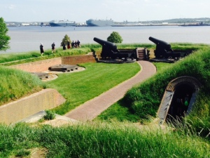 Looking downriver from the Fort towards where the British warships and Francis Scott Key were located and