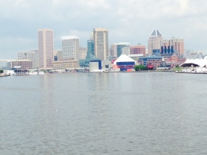 The Baltimore skyline as seen from the water, entering Baltimore Inner Harbor
