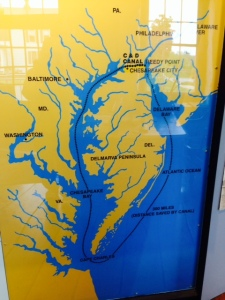 The bay on the left with a line showing a route is Chesapeake Bay. The bay on the right is Delaware Bay. The C&D Canal , 14 miles long, connects the two bays at their northern end. The map also shows the route we took - instead of running along the Atlantic coast, which would have been shorte, we went north into Chesapeake Bay, then through the C&D Canal, then south through Delaware Bay to Cape May, which is on the tip of the peninsula at the southeast end of Delaware Bay with the Bay on one side and the Atlantic Ocean on the other.