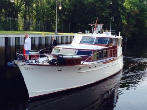 "The classic boat ""Windrush"", which entered the lock with us. The boat was built in the 1960's and the owner, Dave, now lives on her. His home port is on the Chesapeake."