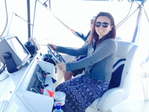 Naoko expertly guiding us up the Pasquotank River towards Elizabeth City -
