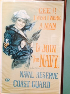 A number of World War II era recruit signs, displayed in the Naval Shipyard Museum, would be considered sexist today....