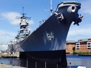 The USS Wisconsin, an Iowa-class battleship that was launched in 1943 and served through the Iraqi War is permanently docked for public boarding as part of the Naval Shipyard Museum in Norfolk - well worth a visit.