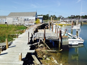 Creaky docks leading to a crab sorting building. Much of the infrastructure on the island suffers from lack of maintenance and is in disrepair.  However, crabbing continues to support the island's small population.