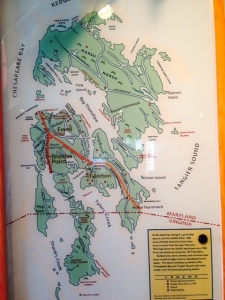 A map in the small island museum showing Smith Island