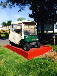 """About twice a year on average, a combination of high tides and winds cause most of the island to flood with 6""""-12"""" of salt water. As a result, most of the golf carts are parked on a raised ramp to keep them above the water level. The frequency and severity of the flooding is increasing as sea levels rise and the severity of storms increases."""