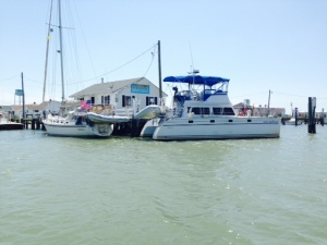 The Joint Adventure docked at the small and rustic Parks Marina, the only place for visitors to dock on the island.
