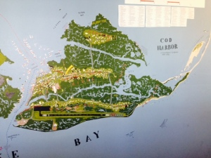 This map of Tangier Island is painted on the wall of the museum on the island. It shows that the island consists of three separate ridges, separated by salt water marshes. The ridges are connected by paved pathways and wooden bridges.