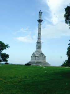 The Yorktown Victory Monument overlooking the battlefield at Yorktown. The monument was commissioned in October of 1781 just after the news of the surrender reached the Continental Congress in Philadelphia, however construction didn't bein for another 100 years (the wheels of government turn slowly...). It was completed in 1884.