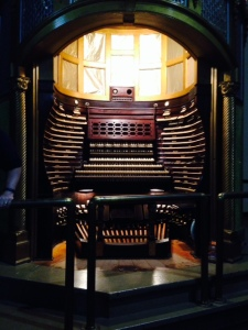 "This is the ""controls"" where the organ player sits to play the organ"