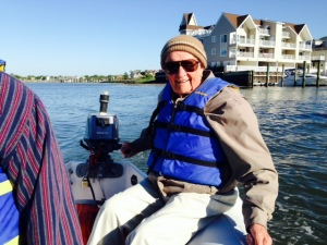 My Dad at the helm of the dinghy as we toured Cape May harbor